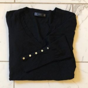 Zara black sweater with pearl button detail